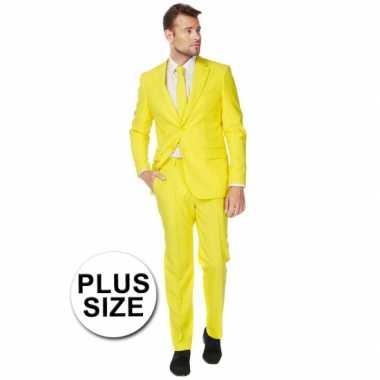Big size heren kostuum geel carnaval