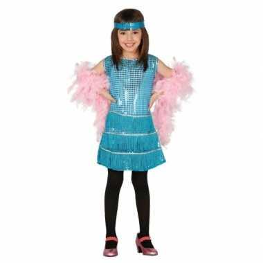 Blauwkleurige kostuum jurk meisjes carnaval