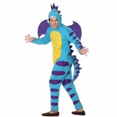Carnaval/feest blauwe draak verkleed kostuum volwassenen