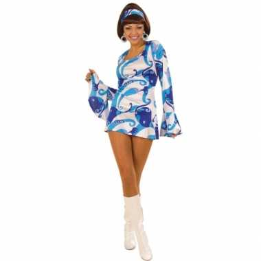 c1c134a09346e2 Carnavalskleding Hippie kostuum jurk dames blauw | Kostuum-carnaval.nl