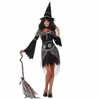 Carnavalskostuum heksenjurk zwart dames
