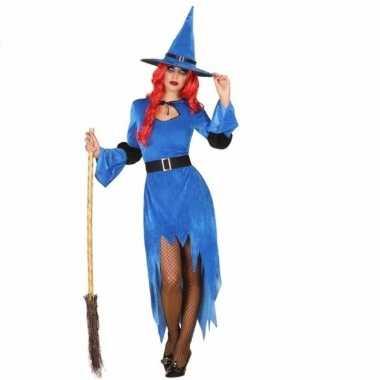 Carnavalskostuum heksenkostuum jurk blauw dames
