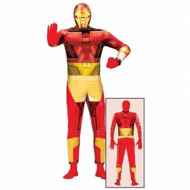Carnavalskostuum superheld rood goud volwassenen