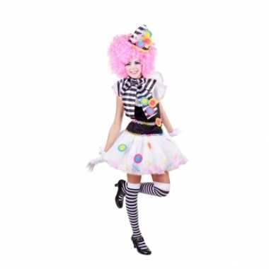 Clown kostuum jurkje zwart wit carnaval
