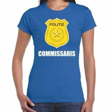 Commissaris politie embleem carnaval t kostuum blauw dames