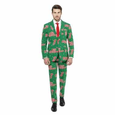 Compleet kostuum groen kerst print carnaval