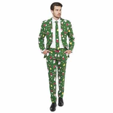Compleet kostuum kerst print groen carnaval