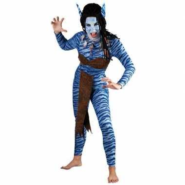 Dames Blauwe jungle strijdster kostuum carnaval