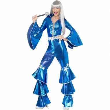 Dames disco kostuum blauw carnaval