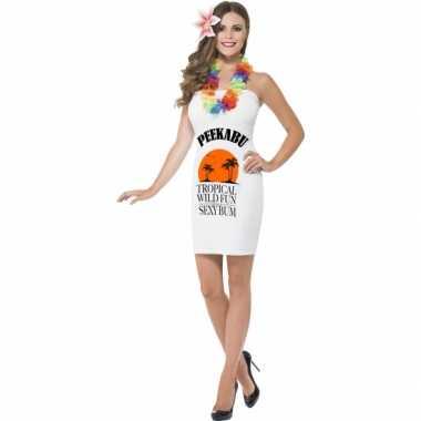 Carnavalskleding Dames.Dames Kostuum Jurkjes Wit Drank Label Peekabu Carnaval Kostuum