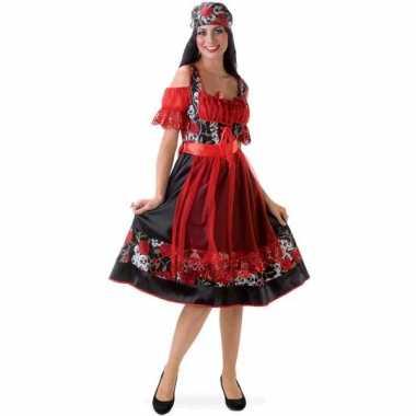 Dirndl kostuum jurkje rood zwart carnaval