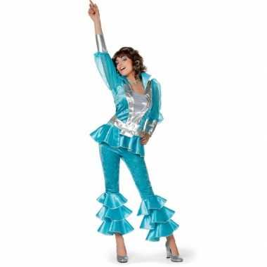 Disco kostuum dames blauw carnaval