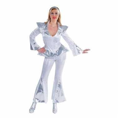 Disco kostuum dames wit/zilver carnaval