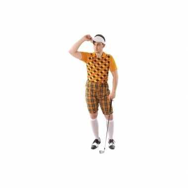 Drie delig golf kostuum oranje heren carnaval