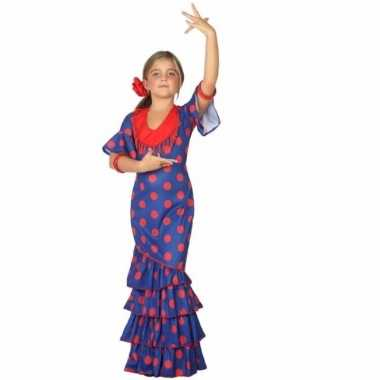 Flamenco kostuum jurk blauw polkadots carnaval