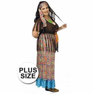 Gekleurd hippie grote maat dames kostuum carnaval ...