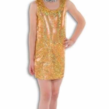 7bf5fa68b04960 Goud glitter kostuum jurkje meisjes carnaval