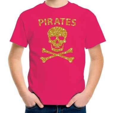 Gouden glitter carnaval kleding piraten kostuum roze kids