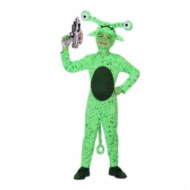Groen alien kostuum space gun kinderen carnaval