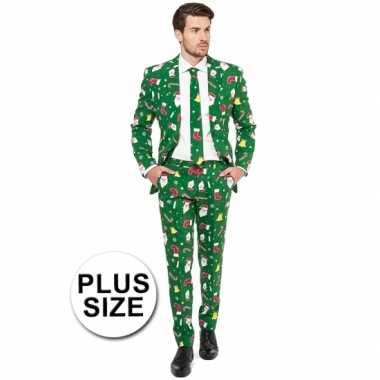 Grote maat compleet kostuum kerst print groen carnaval