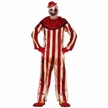 Halloween clownskostuum rood/wit gestreept heren carnaval