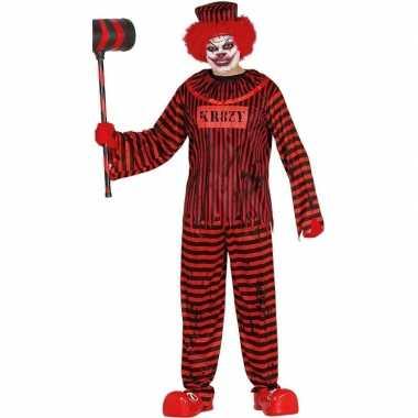 Halloween clownskostuum rood/zwart gestreept heren carnaval