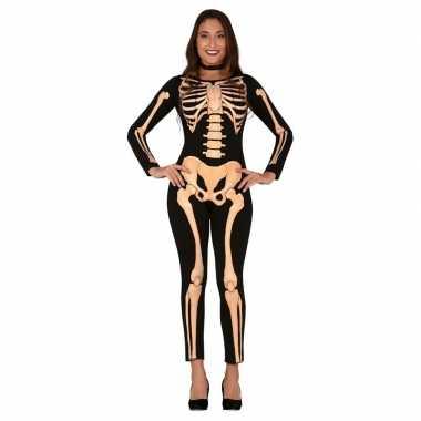 Halloween skelet verkleed kostuum/kostuum dames carnaval