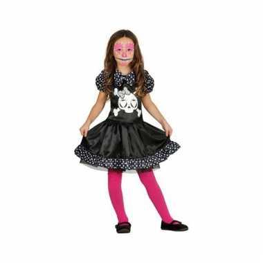 Meisjes Stippen Halloween Skelet Jurk Carnaval Kostuum qc4RL3A5j