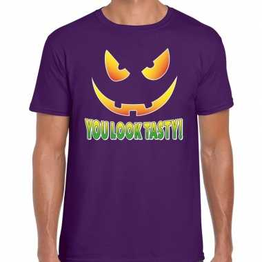 Halloween you look tasty verkleed t kostuum paars heren carnaval