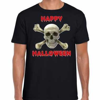Happy halloween halloween schedel verkleed t kostuum zwart heren carnaval