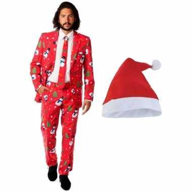 Heren opposuits kerst kostuum rood kerstmuts maat (xl) carnaval