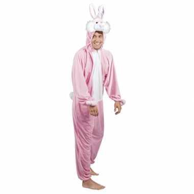 Huiskostuum konijn/ haas roze heren carnaval