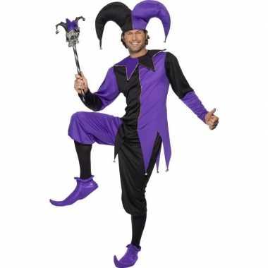 Joker kostuum zwart/paars heren carnaval