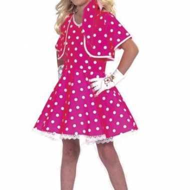 Kort roze meisjes kostuum jurkje stippen carnaval