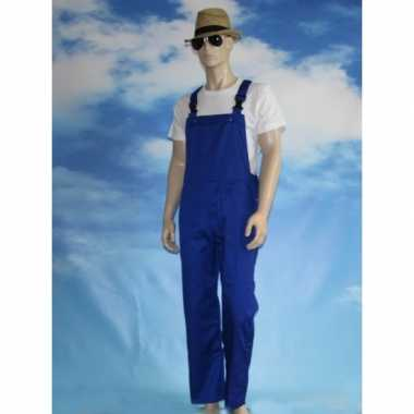 Kostuum blauwe tuinbroek kinderen carnaval