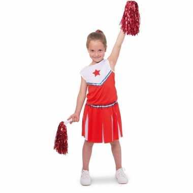 Kostuum cheerleader kinder verkleedset rood/wit carnaval