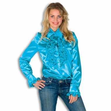 Kostuum  Dames overhemd blauw rouches carnaval