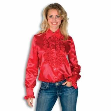 Kostuum  Dames overhemd rood rouches carnaval