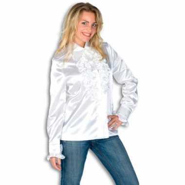 Kostuum  Dames overhemd wit rouches carnaval