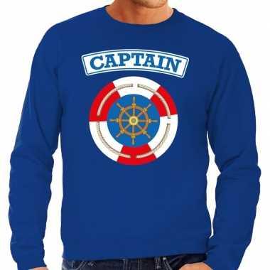 Kostuum kapitein/captain verkleed sweater blauw heren carnaval