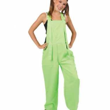 Kostuum  Kinder overall fluor groen carnaval