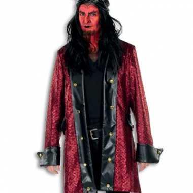 Kostuum  Lange rode verkleed jas heren rood carnaval