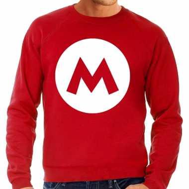 Kostuum mario loodgieter verkleed sweater rood heren carnaval