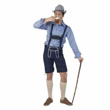 Kostuum tiroler blauwe broek heren carnaval