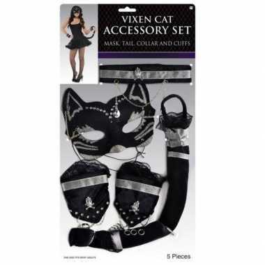 Kostuum verkleedsetje poes/kat zwart carnaval