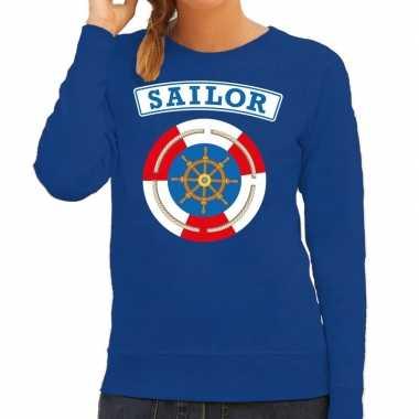 Kostuum zeeman/sailor verkleed sweater blauw dames carnaval