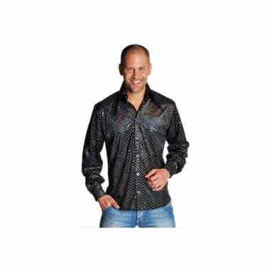 Kostuum zwarte disco overhemden heren carnaval