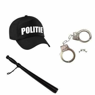 Kostuum zwarte politie agent verkleed pet gummiknuppel handboeien carnaval
