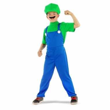 Loodgieter Luigi verkleed kostuum groen jongens carnaval