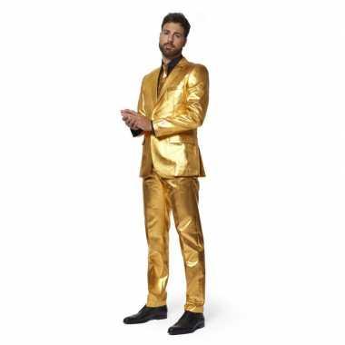 Net heren kostuum goud stropdas carnaval